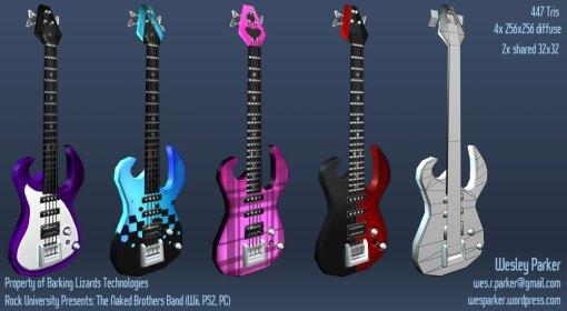 Bass guitars for Naked Bros. Band